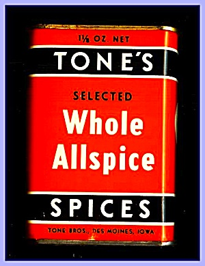 Tone's Spices Whole Allspice, Vintage Tin