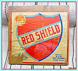 Original 1950s Red Shield Orange Crate Box End and Label  (Image1)