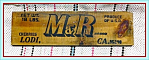 Original 1950s Stamped Wood Fruit Crate End Label, Lodi CA   (Image1)