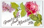Click here to enlarge image and see more about item 1268: MISSOURI: Lilac & Rose Greetings, Kansas City