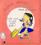 Click to view larger image of WWII Era 'Please Write' Greeting Card - Cute! (Image1)