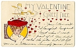 Click here to enlarge image and see more about item 2131: Valentine: Cherubs, Lady with Red Hat