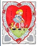 Click here to enlarge image and see more about item 2167: Valentine: Girl, Puppy, Doll