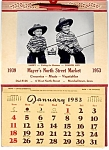 Click here to enlarge image and see more about item 2192: 1953 Calendar, Kids Fishing, Rath Lard Tin