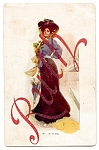 Click here to enlarge image and see more about item 2328: Autumn Lady - International Art Postcard