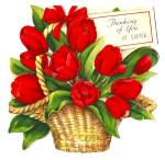 Click here to enlarge image and see more about item 2395: Die-cut, Lovely Tulips in Basket, Easter Thoughts Greeting Card