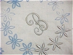 """Click here to enlarge image and see more about item 2730: """"B"""" Monogram Dresser Scarf - Unfinished"""