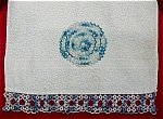 Click here to enlarge image and see more about item 2790: Terry Towel with Blue Crocheted Accents