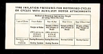 Dunlop Tyre Inflation for Motorised Cycles. Early British Card