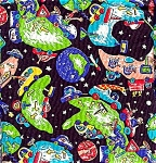 Click here to enlarge image and see more about item 3610: Colorful Floating World Fabric