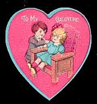 Click here to enlarge image and see more about item 4660: Cute Kids in a Heart � 1920s Valentine