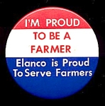 Click here to enlarge image and see more about item 4881: ELANCO, Proud to be a Farmer Button