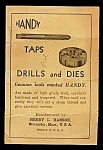 Click here to enlarge image and see more about item 4997: Hanson HANDY Taps, Drills and Dies Reference Card, 1920s
