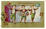 Click here to enlarge image and see more about item 5068: Leprechauns, Flowers, 4-Leaf Clovers