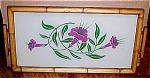 Click here to enlarge image and see more about item 5095: Lovely Painted Glass Flowers Tray