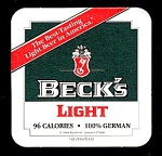 Click here to enlarge image and see more about item 5198: BECK�S LIGHT Beer Coaster