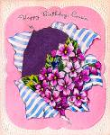 Click here to enlarge image and see more about item 5255: Happy Birthday Cousin, Bouquet of Violets; WW2 Unused Card