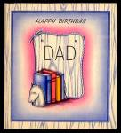Click here to enlarge image and see more about item 5258: Happy Birthday Dad; Books, Horse Bookends; WW2 Unused Card;