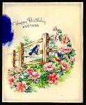 Click here to enlarge image and see more about item 5264: Happy Birthday Brother, Feather, Bluebirds, Apple Blossoms; WW2 Unused Card;