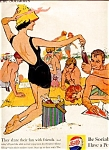 Click here to enlarge image and see more about item 5512: 1959 Be Sociable, Have a Pepsi; Beach Fun with Friends!