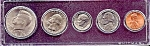 Click here to enlarge image and see more about item 6323: 1985 5-Coin Set in Plastic Holder