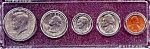Click here to enlarge image and see more about item 6327: 1988 5-Coin Set in Plastic Holder