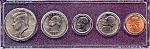 Click here to enlarge image and see more about item 6331: 1991 5-Coin Set in Plastic Holder