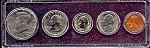 Click here to enlarge image and see more about item 6334: 1990 5-Coin Set in Plastic Holder