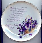 Click here to enlarge image and see more about item 6412: 1981 MOTHER�S DAY Plate, Violets!