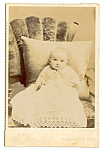 Click here to enlarge image and see more about item 6609: Vintage Cabinet Photo: Well-Dressed Baby from Wisconsin, Velvet Chair?