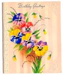 Click here to enlarge image and see more about item 9040: Pansies, Pansies, Pansies!  Birthday Greetings, WWII era