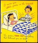 Click here to enlarge image and see more about item 9081: Nurse, Hospital Patient, Get Well Greeting Card, WWII era