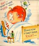Click here to enlarge image and see more about item 9083: Bandaged Apple,Smiling Worm: What's Eatin' You: WWII Era Get Well Wish
