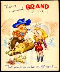 "Cowboy, Cowgirl ""Brand"" Get Well Wishes, WWII era Greeting"