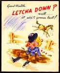 Click here to enlarge image and see more about item 9090: Buckin' Bronco, Health Let You Down? Woman Rider, Horse; LuLu Belle Card
