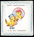 Click here to enlarge image and see more about item 9100: For Two Lovebirds – 'In Tune' WWII Greeting Card