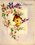 Click here to enlarge image and see more about item 9106: Birdhouse, Apple Blossoms, Cheery Bluebirds for Convalescent, WWII era Greeting Card