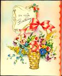 Click here to enlarge image and see more about item 9123: WWII era Greeting Card:  BEAUTIFUL Basket of Birthday Flowers
