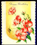 Pretty Pink Poppies on WWII era Birthday Greeting Card