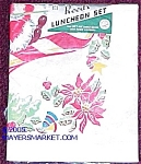 Click here to enlarge image and see more about item p1018: 1940s Holiday Luncheon Tablecloth Set, MIP