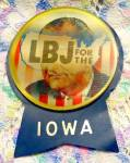 Click here to enlarge image and see more about item SM226: 1964 Johnson 'LBJ for the USA' Holographic Pin