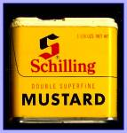 Click here to enlarge image and see more about item Tn117: Schilling Double Mustard Tin, 1970s