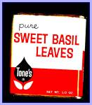 Click here to enlarge image and see more about item Tn120: Tone�s Sweet Basil Leaves, All-Metal Tin