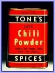 Click here to enlarge image and see more about item Tn135: Tone�s Spices Chili Powder, Vintage Tin
