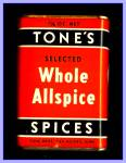 Click here to enlarge image and see more about item Tn137: Tone's Spices Whole Allspice, Vintage Tin