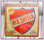 Click here to enlarge image and see more about item TN159: Original 1950s Red Shield Orange Crate Box End and Label