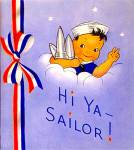 Click here to enlarge image and see more about item vgc19: Hi Ya Sailor!  Vintage Patriotic Greeting Card, 1940s