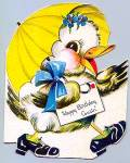 Click here to enlarge image and see more about item vgc21: WWII Era -- Cute Ducky - Cousin's Birthday