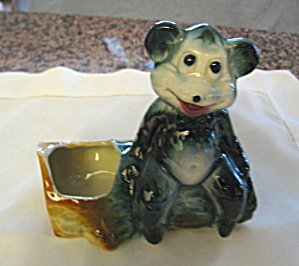 American Bisque Bear On Log Planter