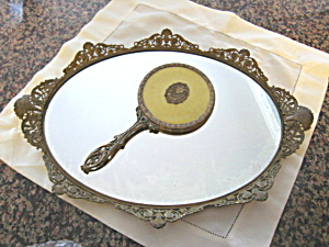 Antique Apollo Vanity Tray & Brush